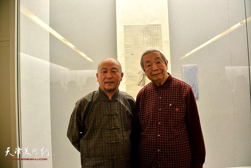 陈长智、缪文杰在《云彰深处——陈少梅作品展》现场。