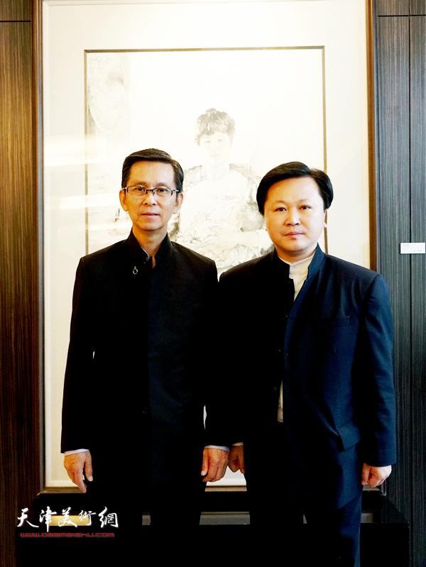 """""""无负芳华""""画展上的赵景宇先生与何家英先生"""