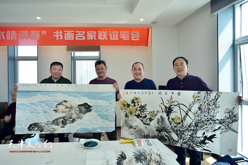 左起:范权、白鹏、刘忠荣、卞昭宏在书画名家联谊活动现场。