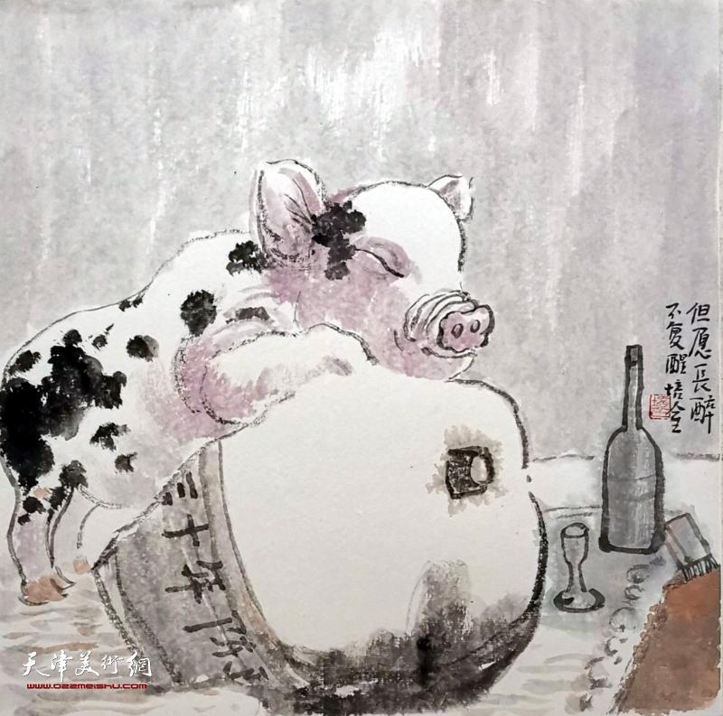 过新年的猪咋画图片