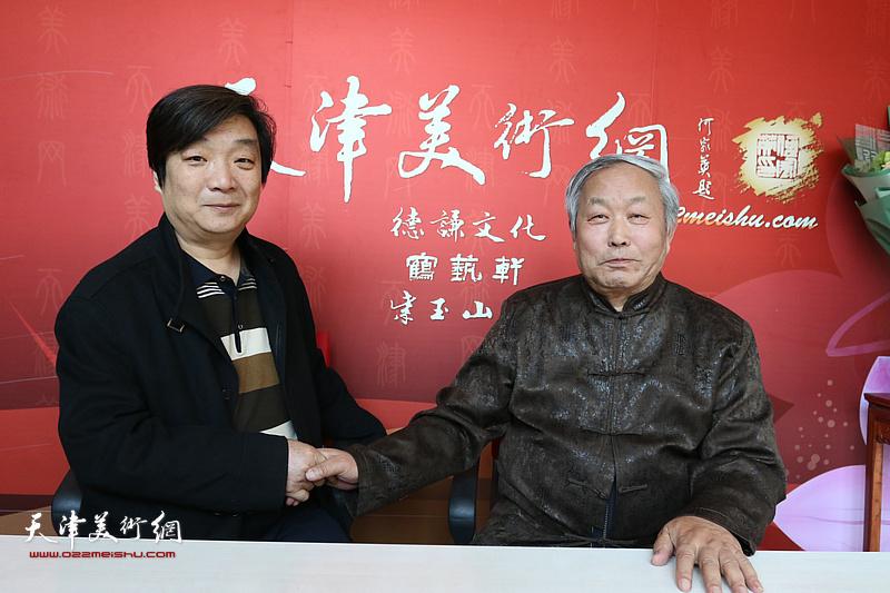 唐云来先生与翟鸿涛在位于紫玉山房的天津美术网书画名家访谈室。