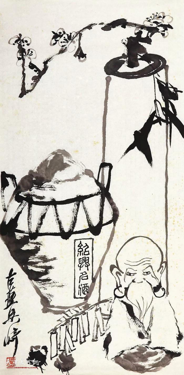 梁崎《双清福寿图》