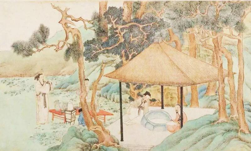 吴门画派-明代 文徵明《惠山茶会图》局部