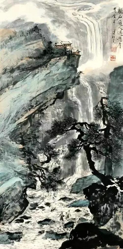 爱新觉罗画派-溥松窗《乱石通人过悬崖》135cm*67cm 此次画展 首次公映苏州