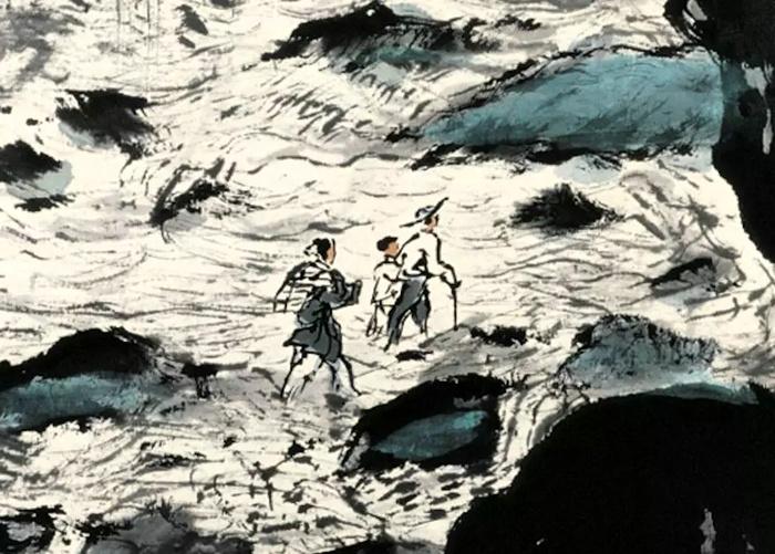 爱新觉罗画派-溥松窗《乱石通人过悬崖》局部