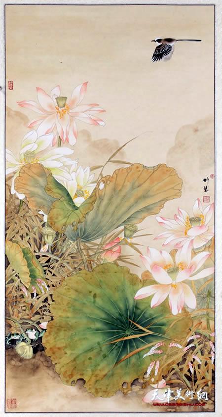 李悦作品《爱莲说》入选第十一届全国美展