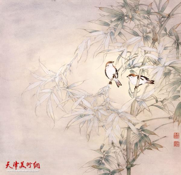 李悦作品《竹影雀声》