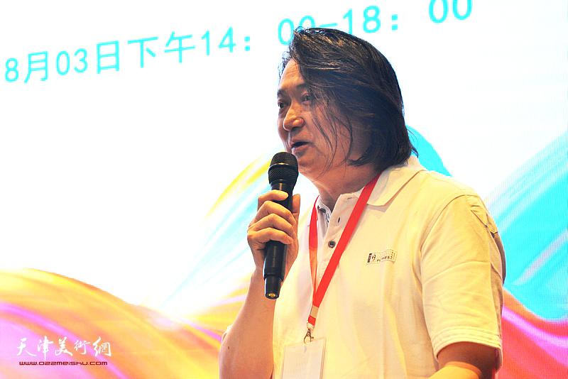 天津创意产业协会会长薛义对大赛组委会、指导单位以及评委表示感谢,并鼓励选手赛出水平。