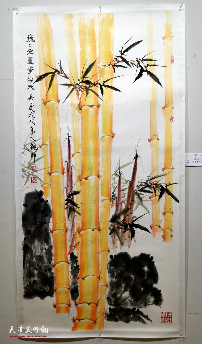"""""""金辉玉润一一柴寿武金竹国画特展""""展出的部分作品。"""