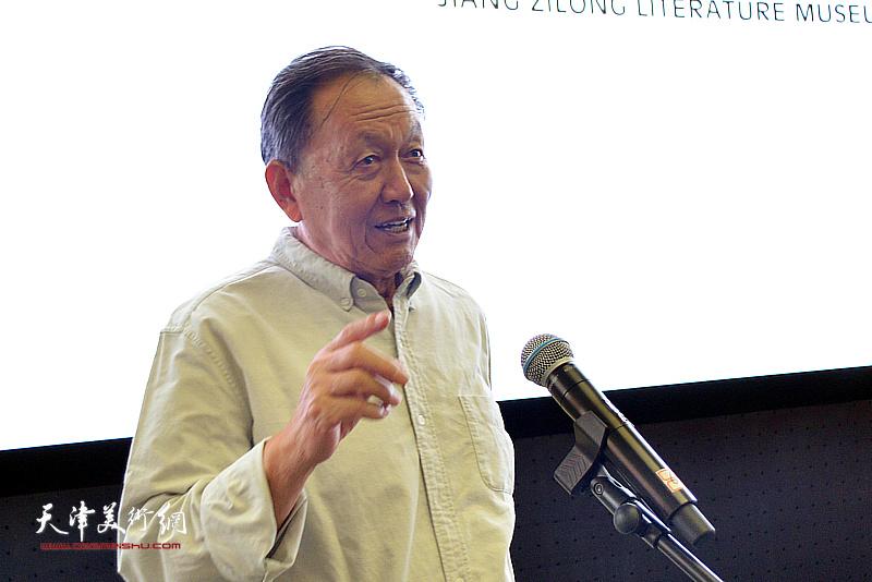 著名作家蒋子龙在蒋子龙文学馆揭牌仪式上致辞。