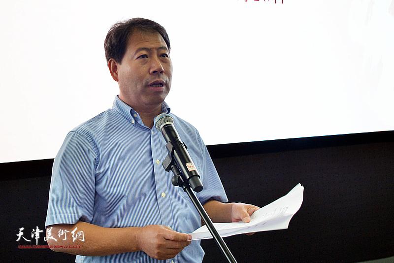 滨海新区文化和旅游局党委书记、局长、二级巡视员王会臣主持蒋子龙文学馆揭牌仪式。