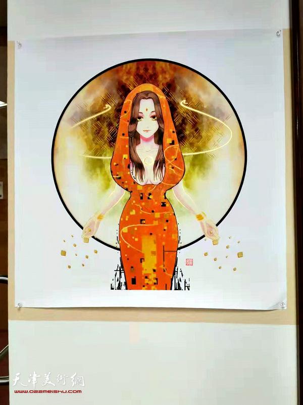 图为美国佩斯大学孔院展览的艺术家马孟杰作品。