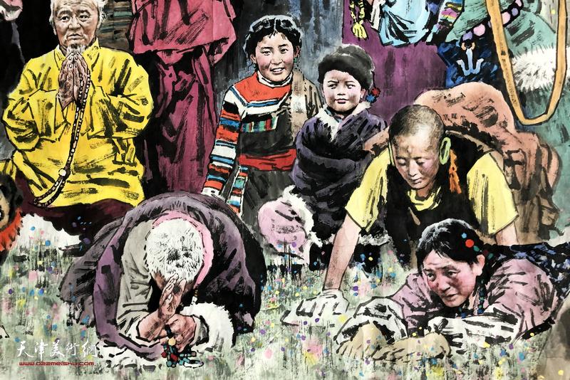 张礼军作品:格桑花开 雪域圣地 (国画长卷局部之五)