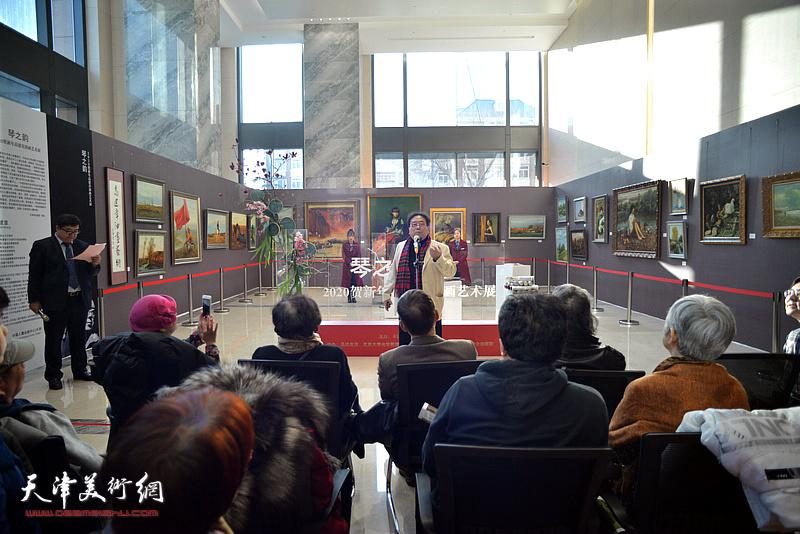 """""""琴之韵—2020贺新年高建章油画艺术展""""开幕仪式现场。"""