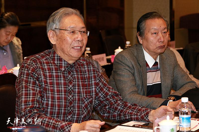 天津政协之友书画院、长城书画院迎新春座谈会由赵玉森主持。