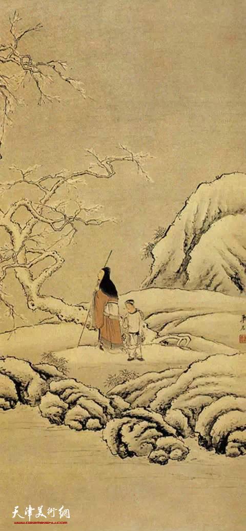 清 萧晨 《踏雪寻梅图》