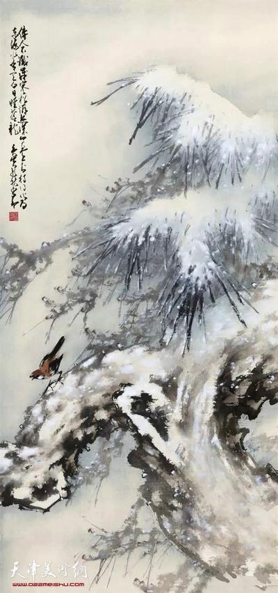 近代 赵少昂 《松雪小鸟》