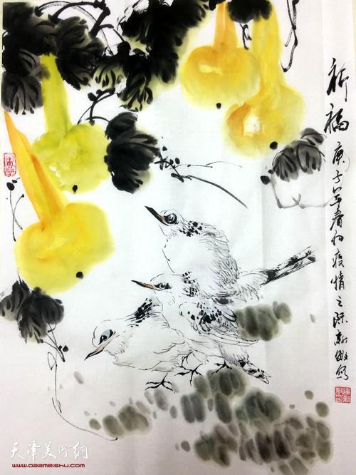 运新敏作品:《祈福》  中国画