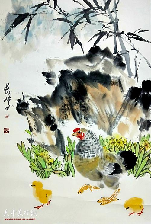 崔长鸣作品:《报春》  中国画