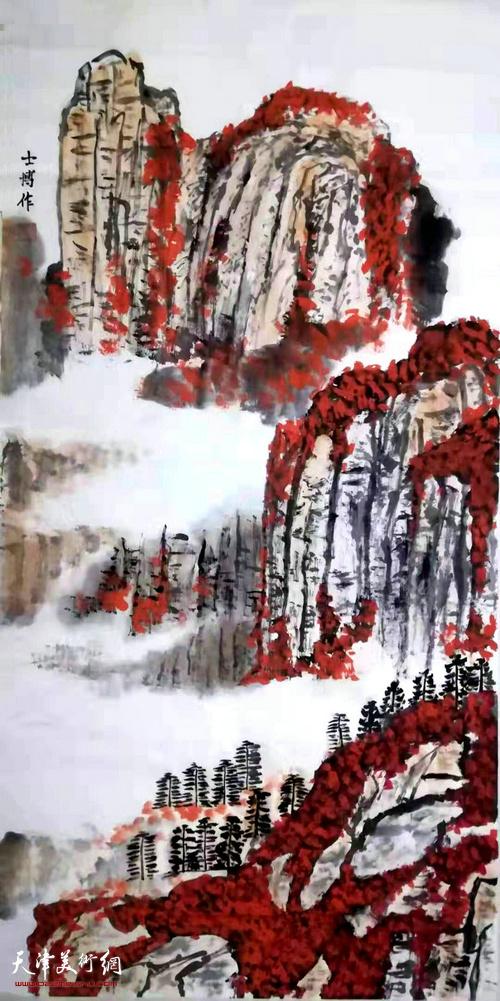 刘世博作品:《祝福祖国》中国画