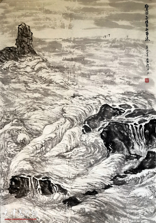 崔玉华作品:《惊涛过后,百舸争流》   中国画