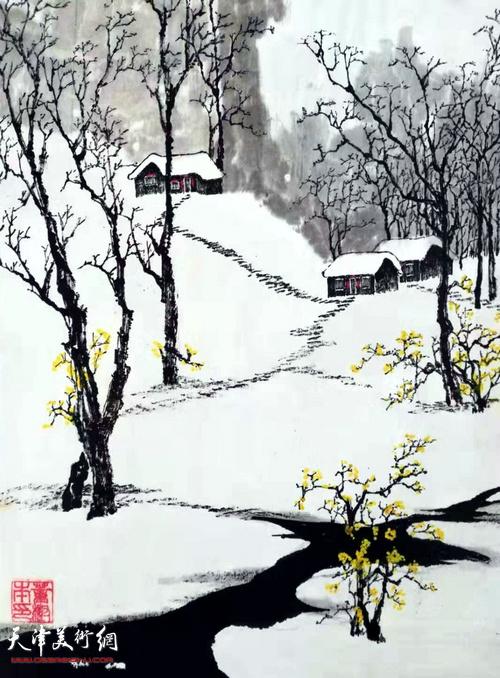 董树本作品:《迎春花开了,春天还远吗》    中国画