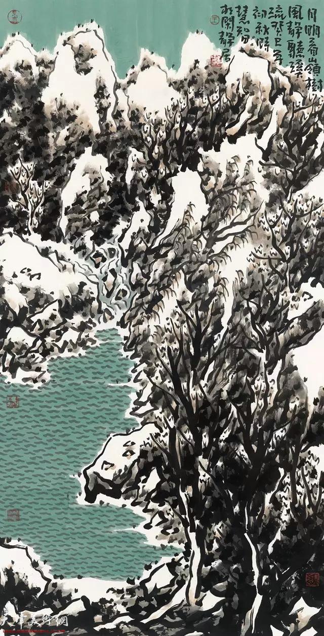 王慧智雪景作品:月明看岭树 风静听溪流  136×68cm  2013年