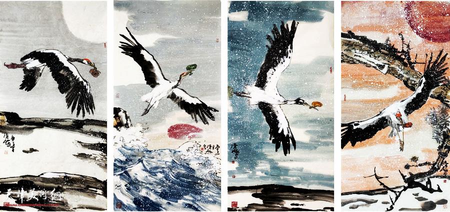 尹沧海新作:《白鹤衔芝》