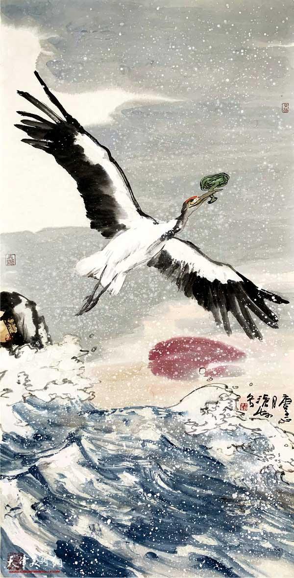 尹沧海新作:《白鹤衔芝》(之三)