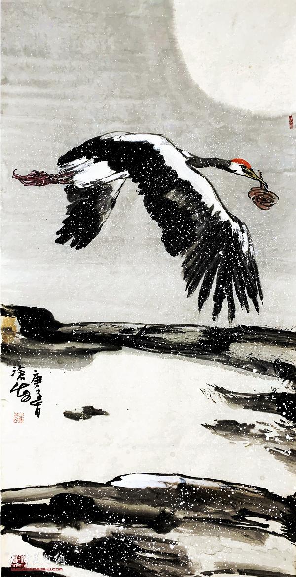 尹沧海新作:《白鹤衔芝》(之四)