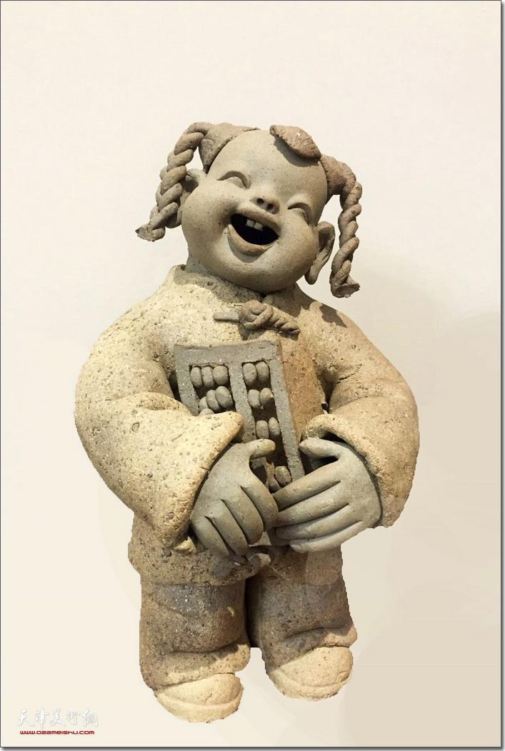 王海林作品:《上学去》  (瓷雕)