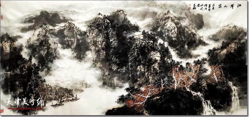 皮志刚先生作品《江岸人家》 (之一)。