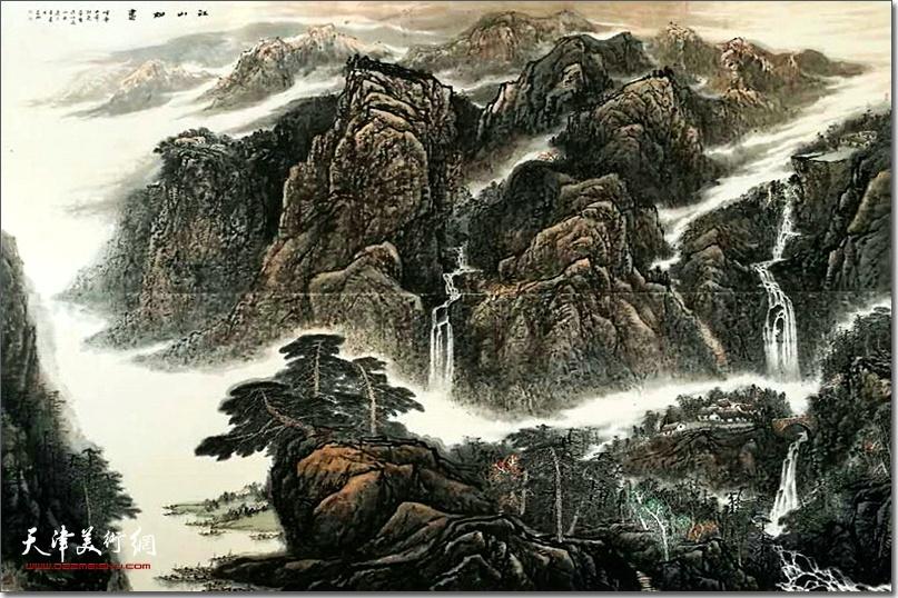 皮志刚先生作品《江山如画》。