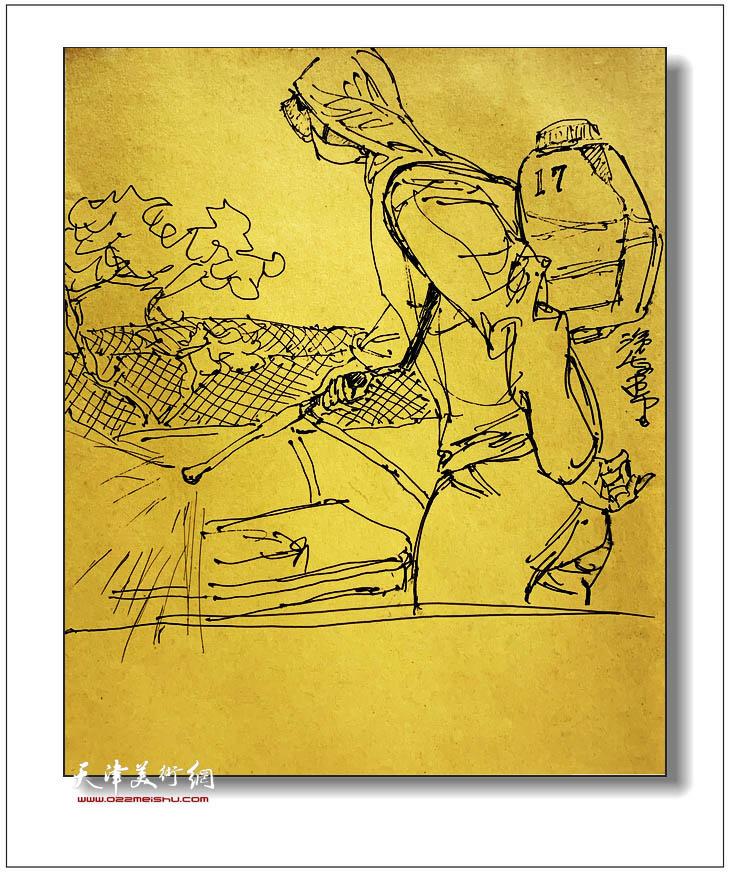 尹沧海速写:消毒作业的环卫工人