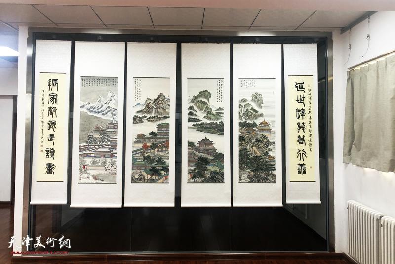 定观自在,缘起性空—李家尧写经界画山水作品展布展现场。