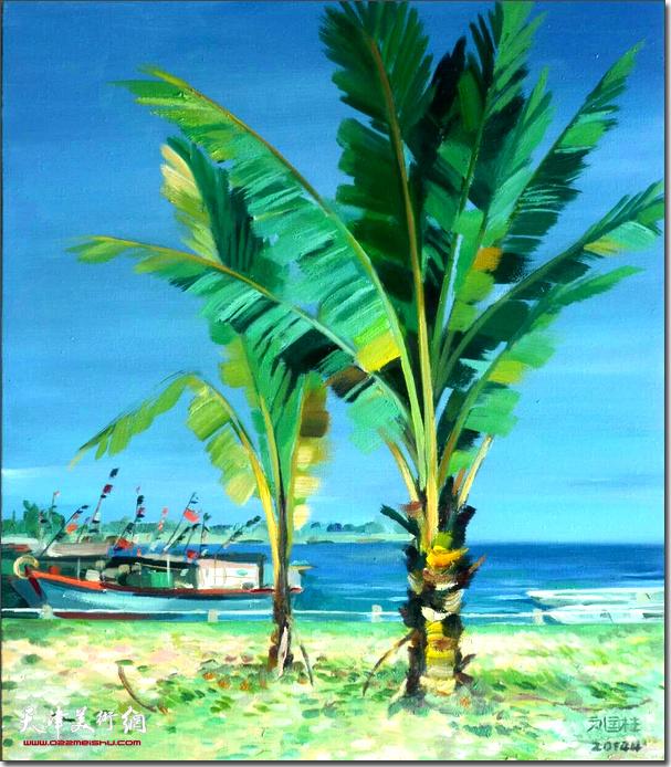 刘国柱作品:渔村棕树