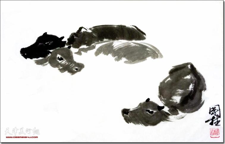 刘国柱作品:浴场
