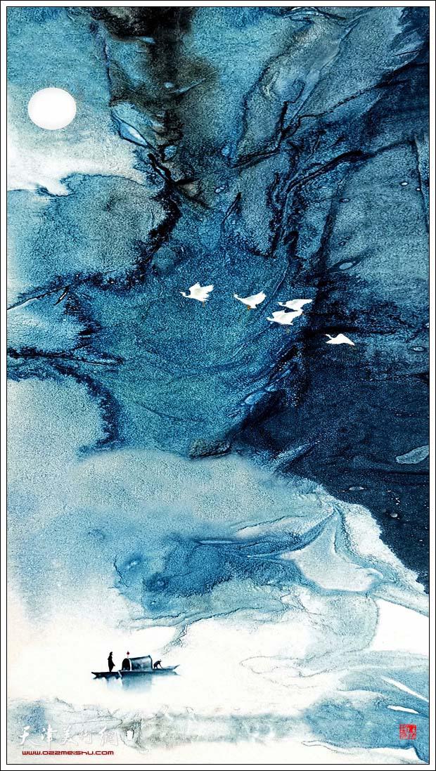 霍然作品:《月明星稀游赤壁》。