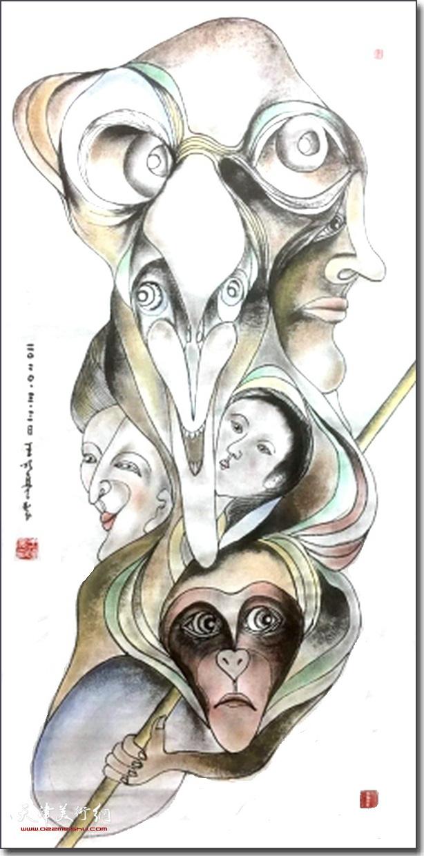 王明亮作品:金猴澄埃图