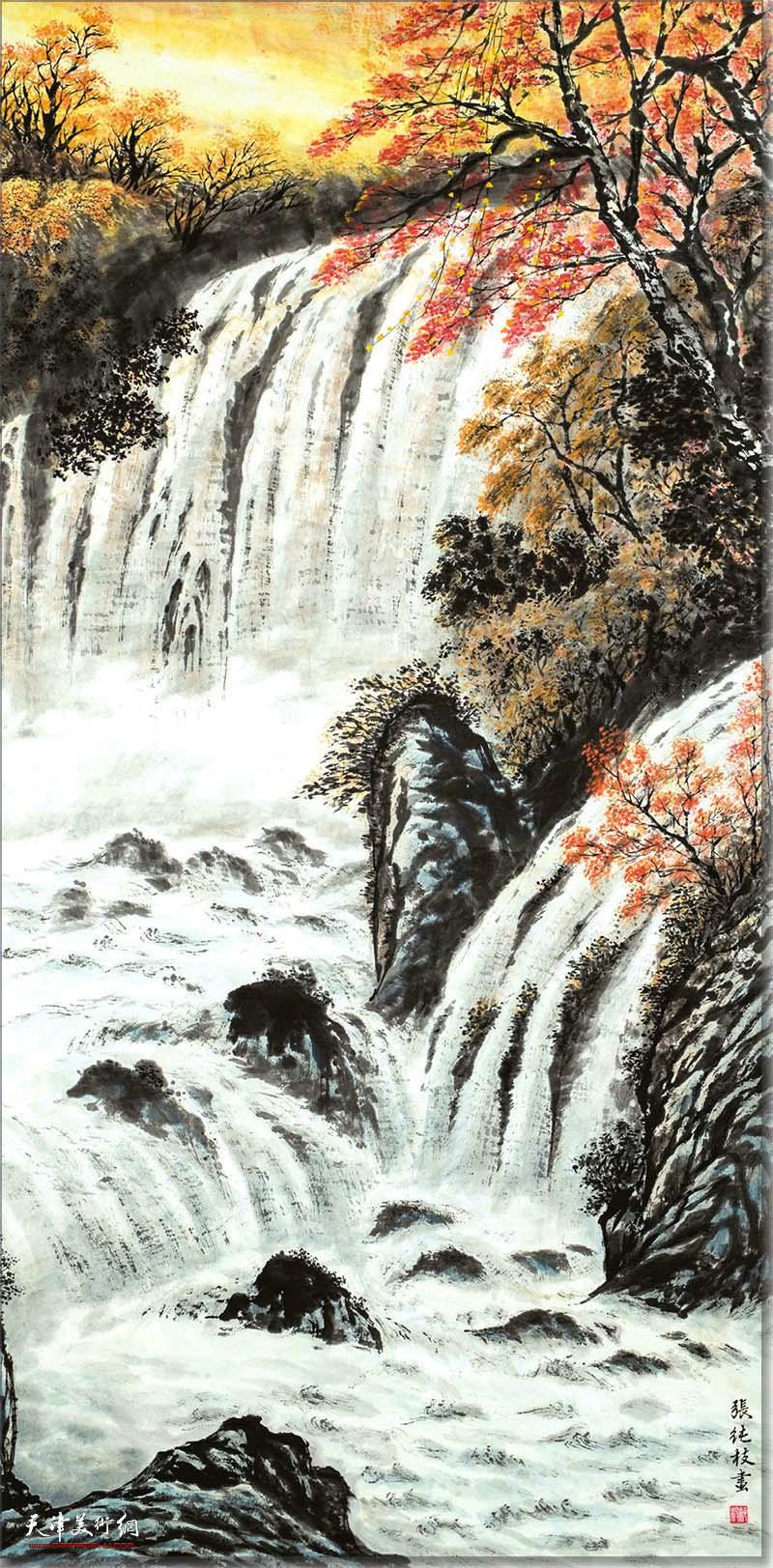 张纯枝作品:金秋飞瀑图