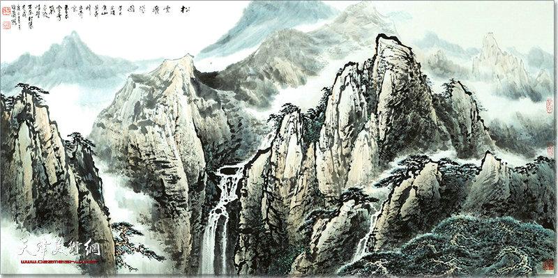 王耀涛作品:松雪飞瀑图