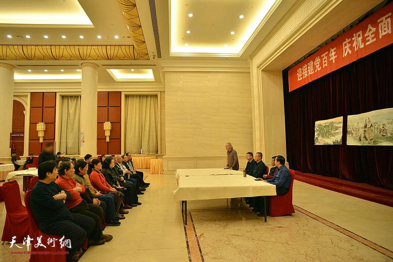 人民书画院天津分院举办迎接建党百年、庆祝全面小康书画笔会现场