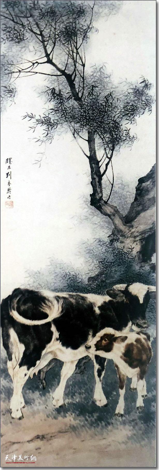 刘奎龄作品:《四条屏之牛》 (水墨画)
