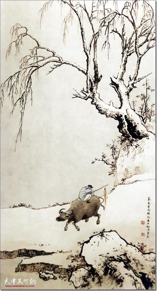 陈少梅作品:《归牧图》 (水墨画)