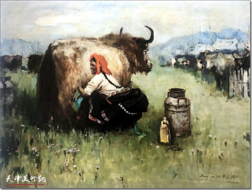 邓家驹作品《挤奶》 (油画)