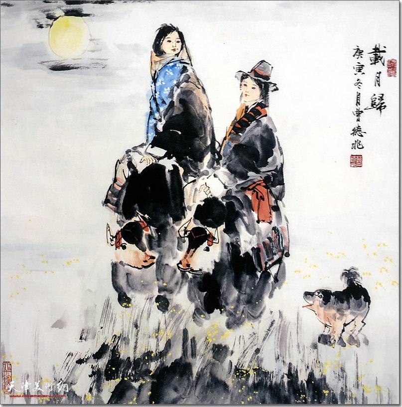 曹德兆作品:《载月归》 (水墨画)