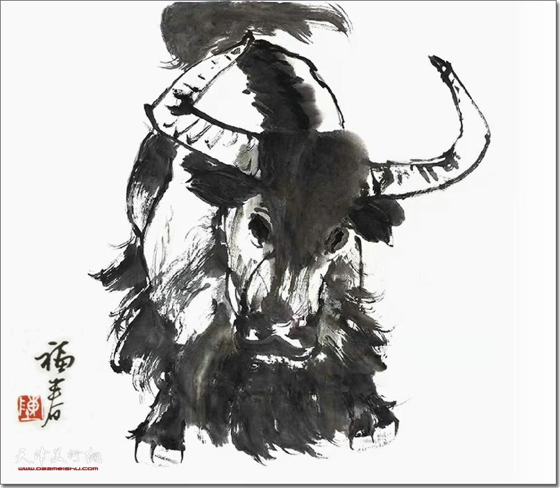 陈福春作品:《牛》 (水墨画)