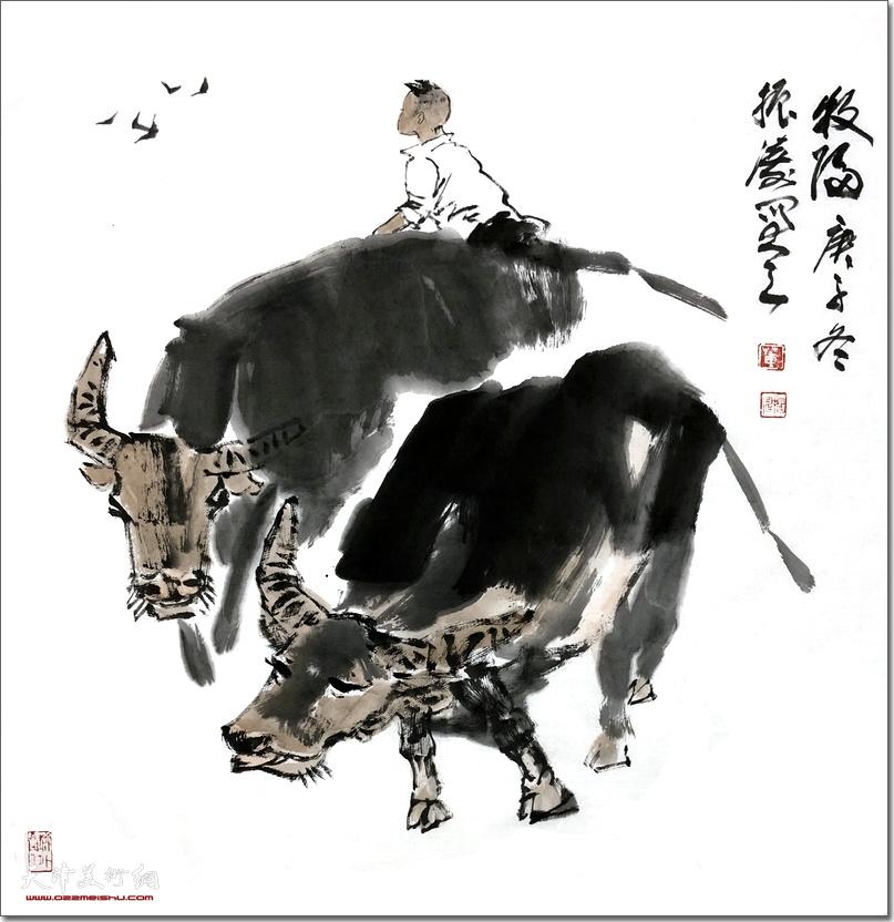 董振涛作品:《牧归》 (水墨画)