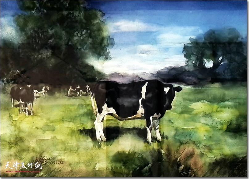 杜晓光作品:《牧场》 (水彩画)