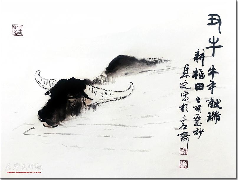 高卓之作品:《牛年献瑞》 (水墨画)